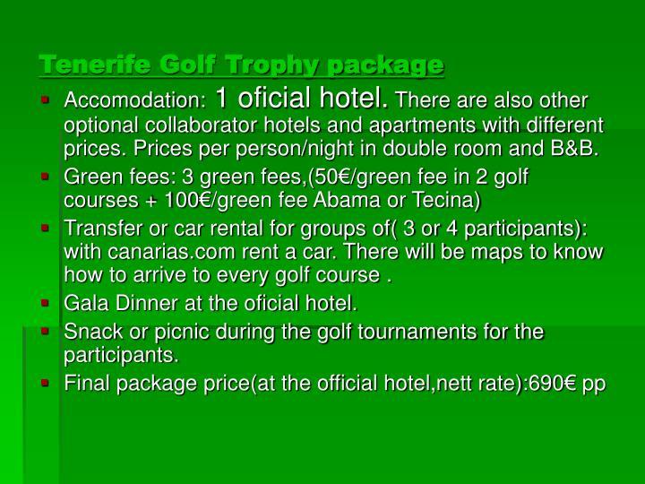 Tenerife Golf Trophy package