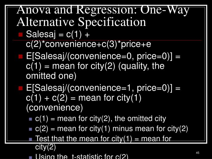 Anova and Regression: One-Way