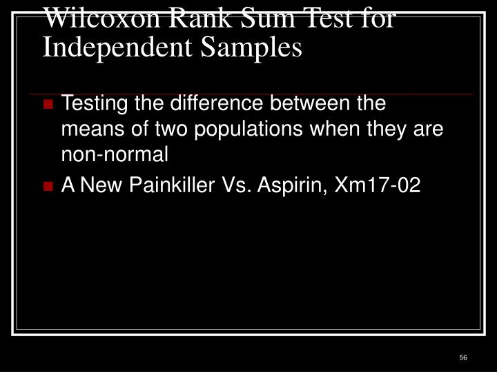 Wilcoxon Rank Sum Test for Independent Samples