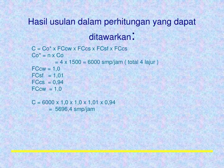 Hasil usulan dalam perhitungan yang dapat ditawarkan