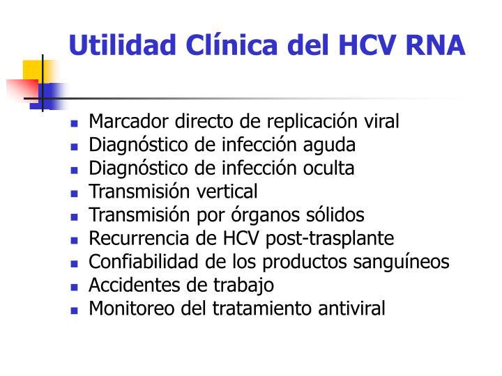 Utilidad Clínica del HCV RNA