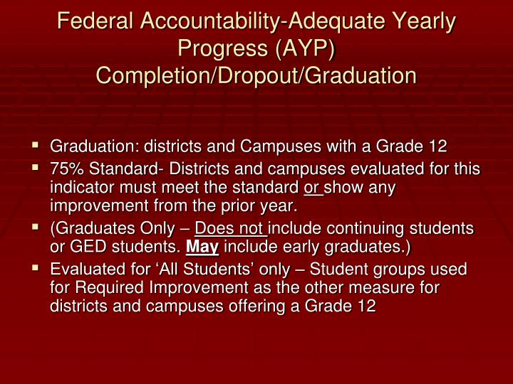 Federal Accountability-Adequate Yearly Progress (AYP)