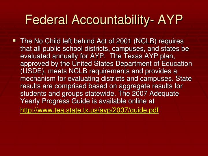 Federal Accountability- AYP
