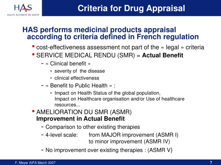 Criteria for Drug Appraisal