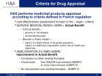 criteria for drug appraisal