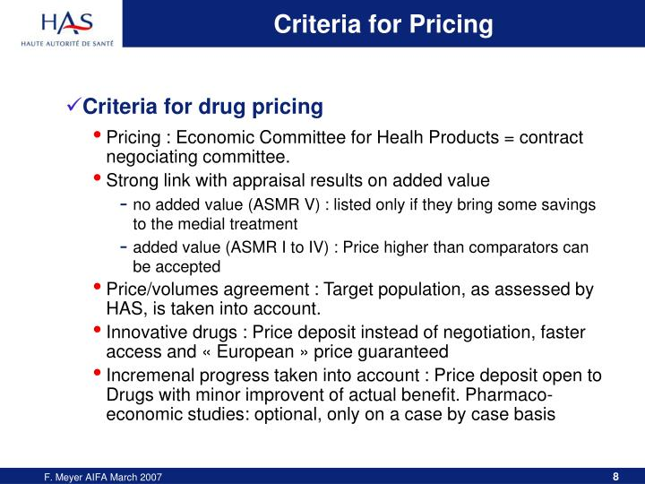 Criteria for Pricing