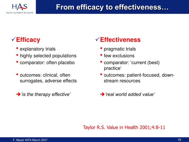 From efficacy to effectiveness…