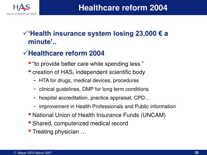 Healthcare reform 2004