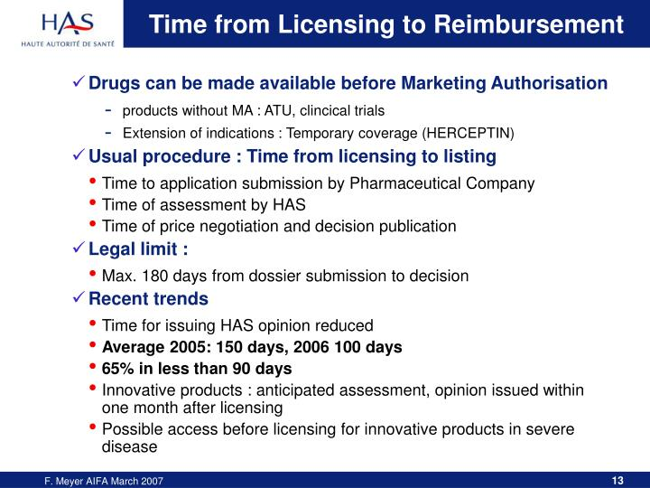 Time from Licensing to Reimbursement