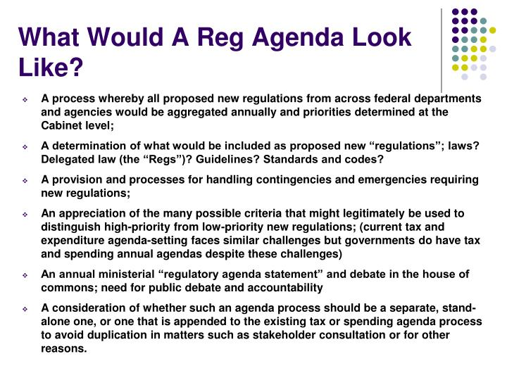 What Would A Reg Agenda Look Like?