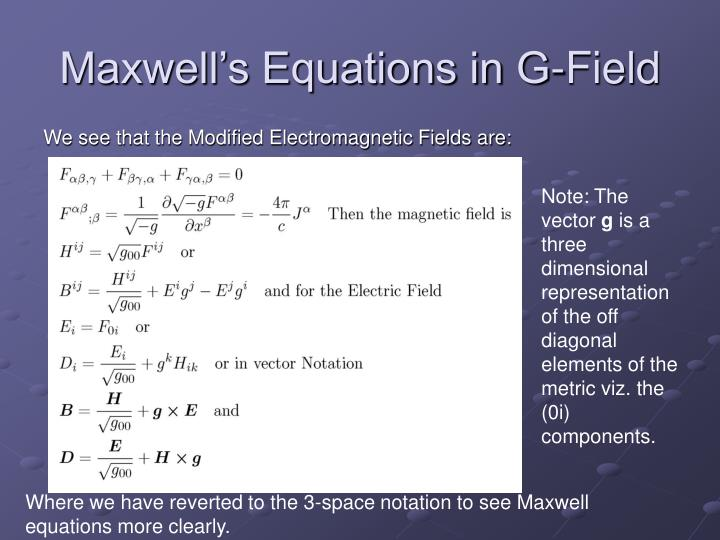 Maxwell's Equations in G-Field