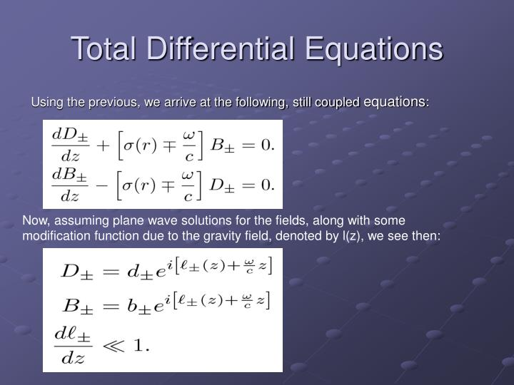 Total Differential Equations
