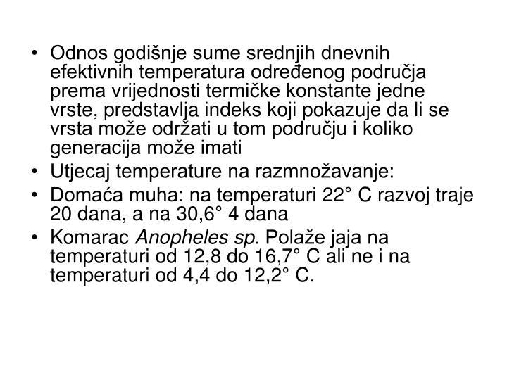 Odnos godišnje sume srednjih dnevnih efektivnih temperatura određenog područja prema vrijednosti termičke konstante jedne vrste, predstavlja indeks koji pokazuje da li se vrsta može održati u tom području i koliko generacija može imati