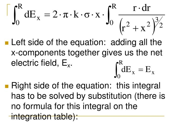 Left side of the equation:  adding all the x-components together gives us the net electric field, E