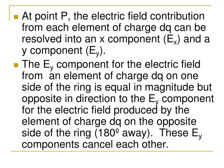 At point P, the electric field contribution from each element of charge dq can be resolved into an x component (E