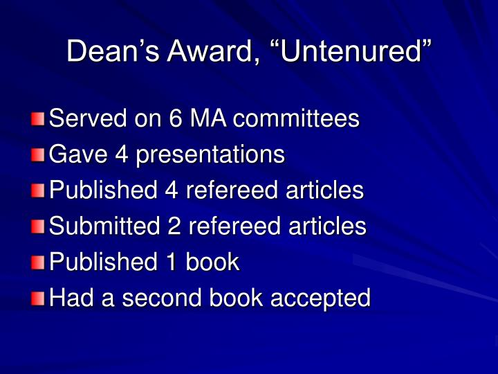 """Dean's Award, """"Untenured"""""""