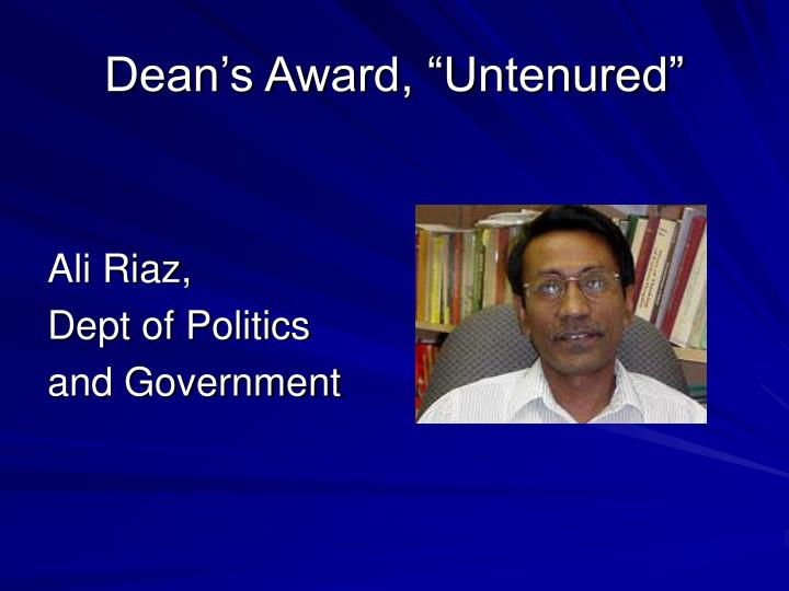 "Dean's Award, ""Untenured"""