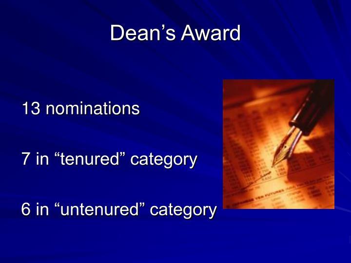 Dean's Award