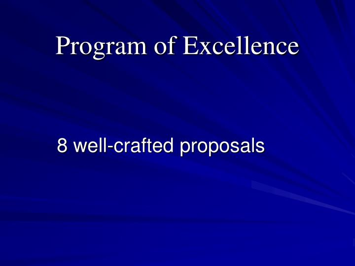Program of Excellence