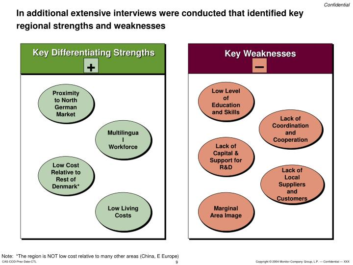 In additional extensive interviews were conducted that identified key regional strengths and weaknesses