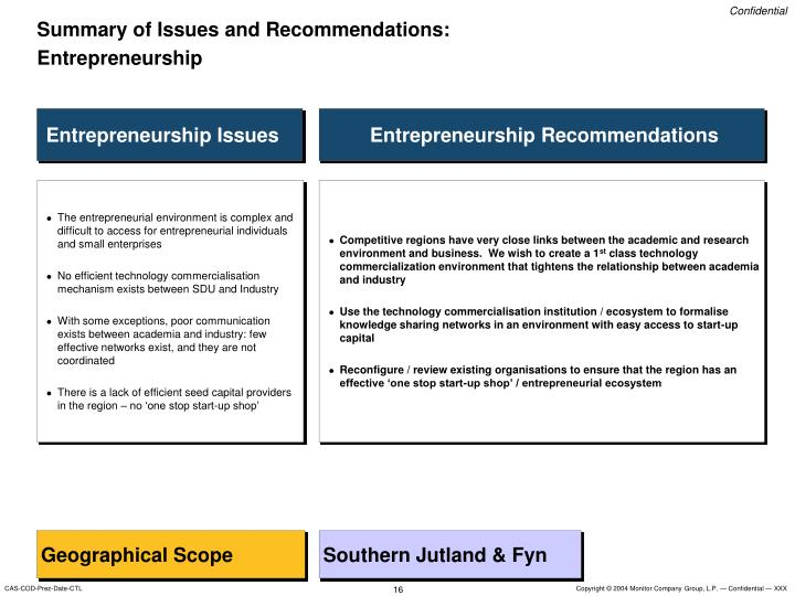 Summary of Issues and Recommendations: