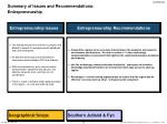 summary of issues and recommendations entrepreneurship