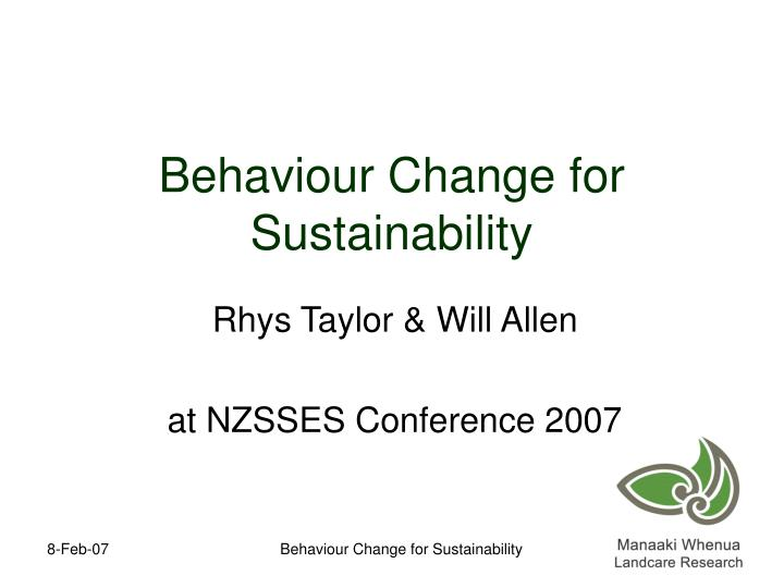 Behaviour change for sustainability