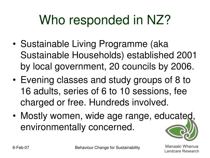 Who responded in NZ?