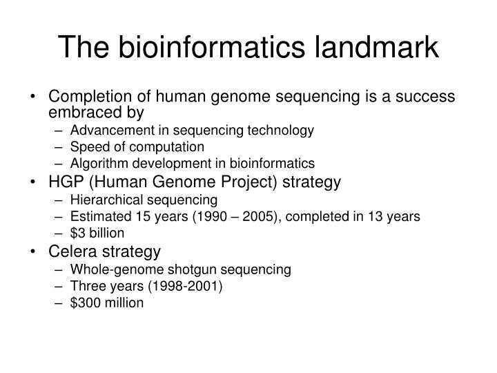 The bioinformatics landmark