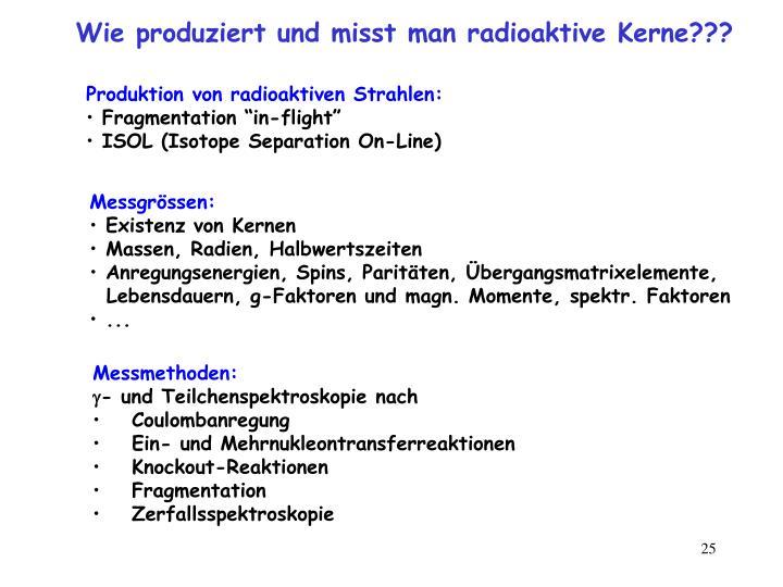 Wie produziert und misst man radioaktive Kerne???