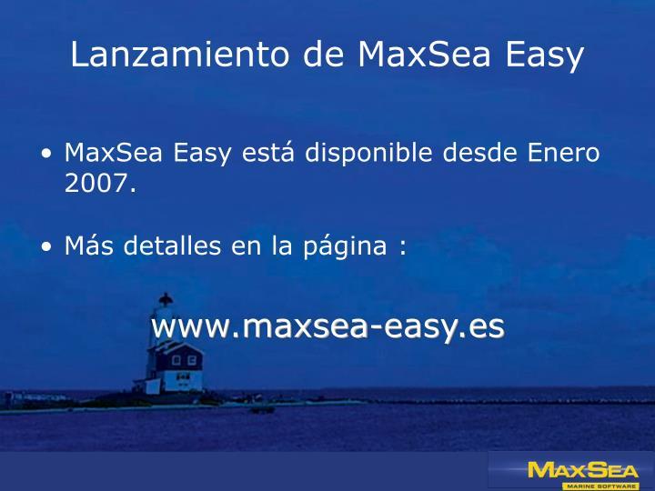 Lanzamiento de MaxSea Easy
