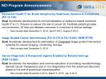 nci program announcements