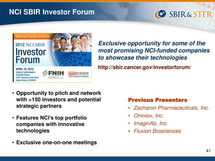 NCI SBIR Investor Forum