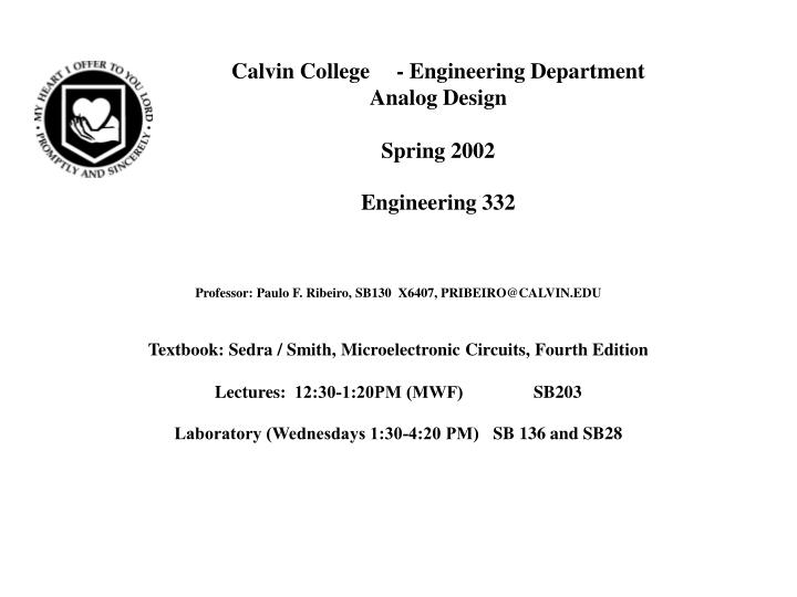 Calvin College - Engineering Department
