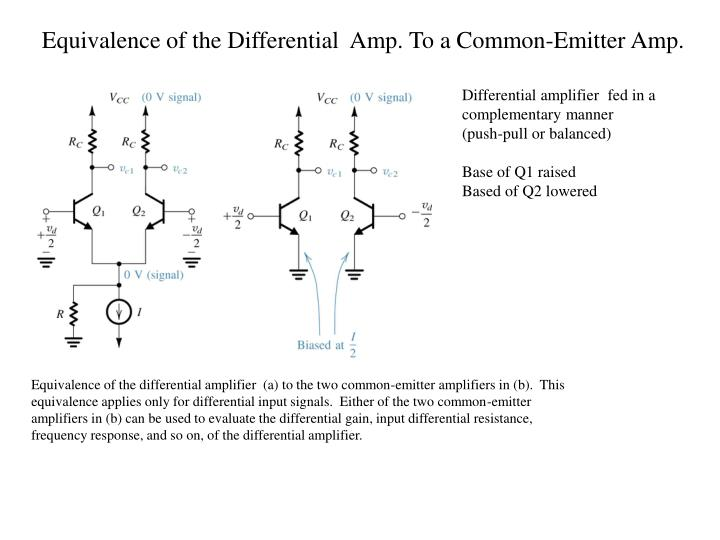 Equivalence of the Differential  Amp. To a Common-Emitter Amp.