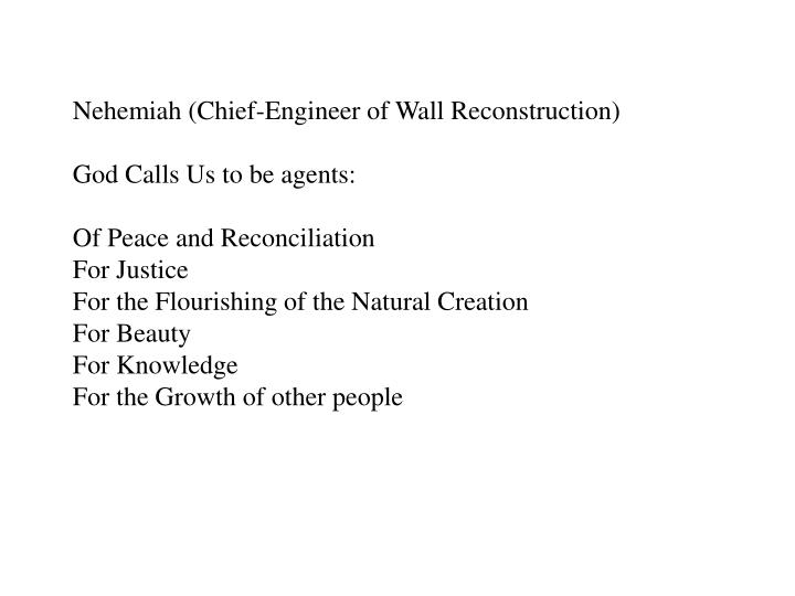 Nehemiah (Chief-Engineer of Wall Reconstruction)