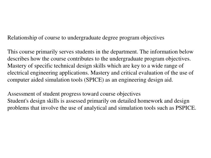 Relationship of course to undergraduate degree program objectives
