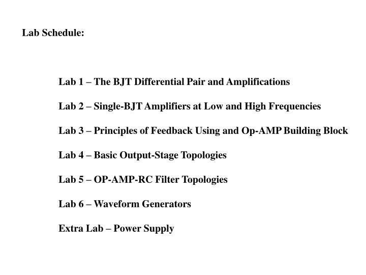 Lab Schedule: