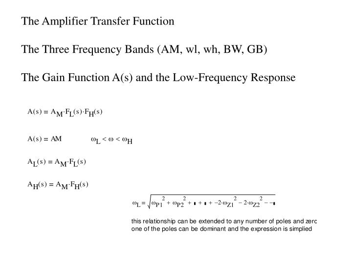 The Amplifier Transfer Function