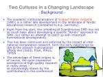 two cultures in a changing landscape background