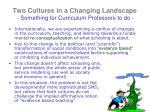 two cultures in a changing landscape something for curriculum professors to do