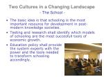 two cultures in a changing landscape the school1