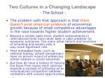 two cultures in a changing landscape the school4