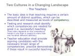 two cultures in a changing landscape the teachers1