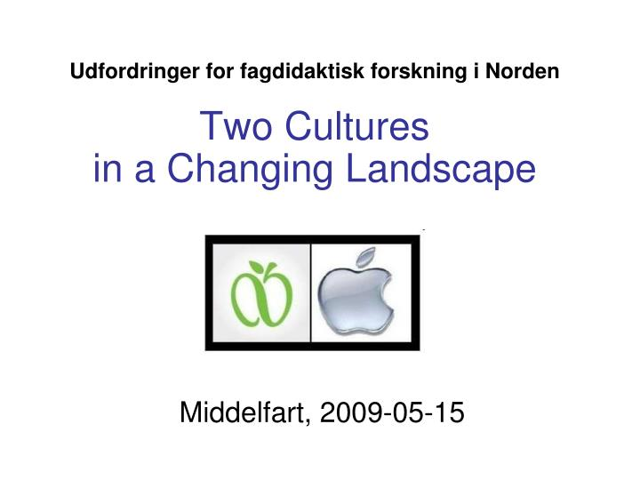 Udfordringer for fagdidaktisk forskning i norden two cultures in a changing landscape