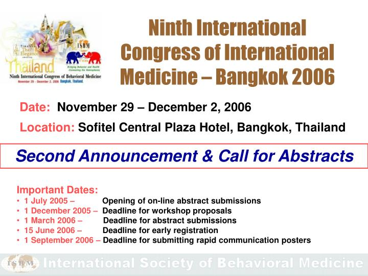 Ninth International Congress of International Medicine – Bangkok 2006