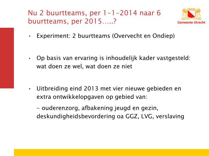 Nu 2 buurtteams, per 1-1-2014 naar 6 buurtteams, per 2015…..?