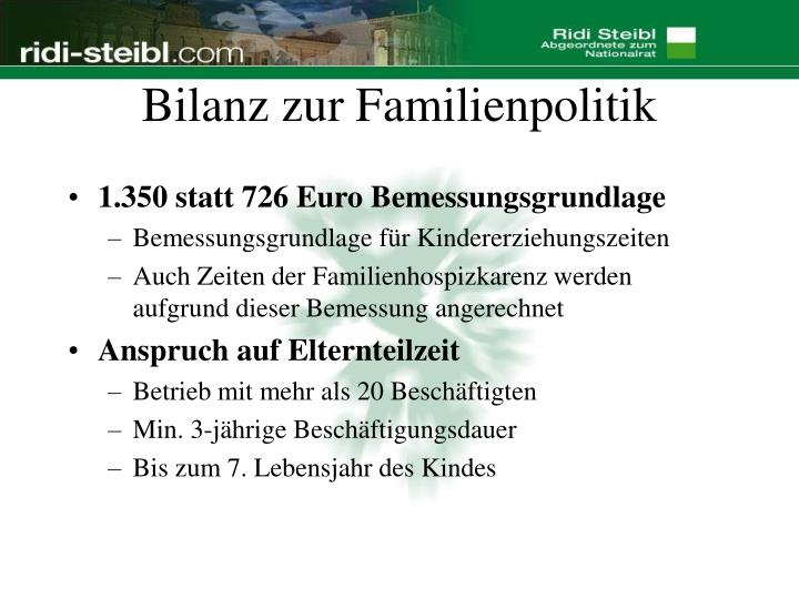 Bilanz zur Familienpolitik