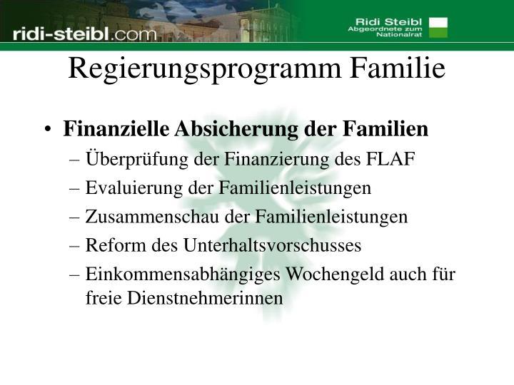 Regierungsprogramm Familie