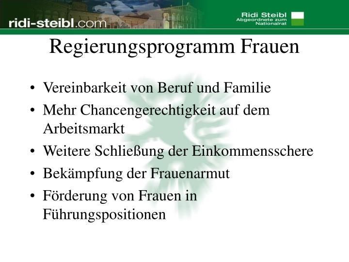 Regierungsprogramm Frauen